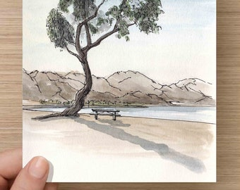 Pen and Ink and Watercolor Painting of Sunset and Tree at Lake Cahuilla near Palm Springs, California - Shadow, Picnic Table, Drawing, Art