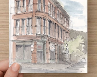 Ink and Watercolor Drawing of downtown building in Aspen, Colorado - Architecture, Brick, Sketchhbook, Painting, Sketch, Art, 5x7, 8x10