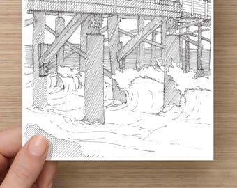 Ink Drawing of Flagler Beach Pier Closeup, Florida - Drawing, Art, Architecture, Sketch, Ocean, Waves, Pen and Ink, 5x7, 8x10, Print