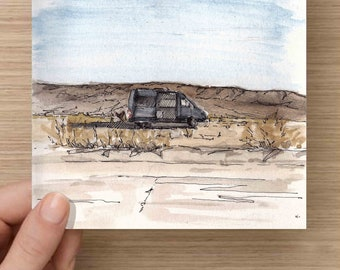 Pen and Ink and Watercolor Painting of Sprinter Camper Van in Desert Near Joshua Tree National Park - California, Vanlife, Drawing, Art