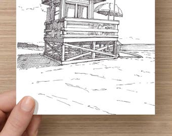 Ink Drawing of lifeguard stand on Siesta Key Beach - Florida, Sand, Ocean, Gulf of Mexico, Sketch, 5x7 Print, Art, Illustration, Pen and Ink