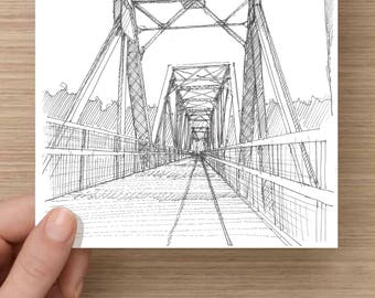 Ink Drawing of Steel Bridge over Broad River on Palmetto Trail near Columbia, South Carolina - Drawing, Art, Pen and Ink, 5x7, 8x10, Print