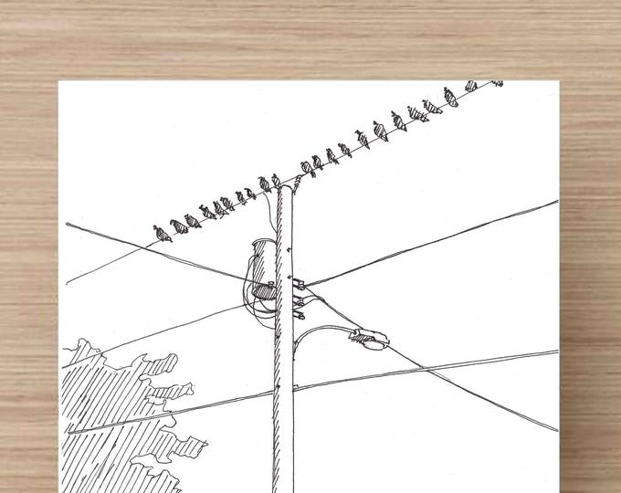 Birds On a Wire - Trailer Park, Telephone Pole, Ink Drawing, Sketch, 5x7 Print, Art, Drawing, Illustration, Ink Sketch, Plein Air
