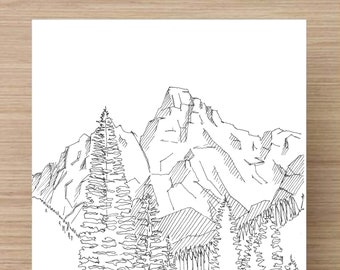 WYOMING - Pen and Ink, Art Prints, Drawing, Grand Teton, Mormon Row, Devils Tower, Dirt Roads, National Park, Mountains, Architecture