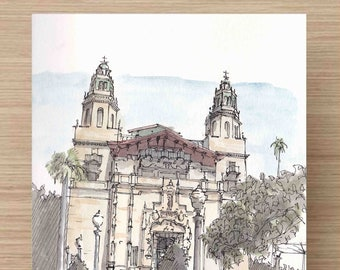 Ink and Watercolor Drawing  of Hearst Castle in San Simeon, California - Architecture, William Hearst, Painting, Sketch, Art, 5x7, 8x10