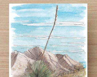 Ink and Watercolor Drawing of Yuca Plant on a Desert Hillside - Landscape, Mountains, Sketch, Art, Pen and Ink, 5x7, 8x10