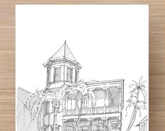 Ink Drawing of the Artist House Hotel in Key West, Florida - Architecture, Queen Ann, Sketch, 5x7 Print, Art, Illustration, Pen and Ink