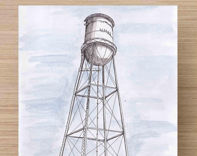 Featured listing image: Water Tower in Marfa, Texas - Engineering, Architecture, Perspective, Ink Drawing, Sketch, Watercolor, Art, Pen and Ink, 5x7, 8x10