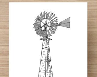 Pen and Ink Drawing of an Old Windmill near Basalt, Colorado - Ranch, Wind Power, Farm, Technology, Black and White, Sketch, Art, 5x7, 8x10