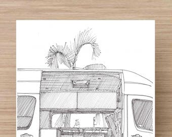 Ink Drawing of converted Sprinter van - Vanlife, Kitchen, Tiny House, RV, Camper, Sketch, 5x7 Print, Art, Illustration, Pen and Ink