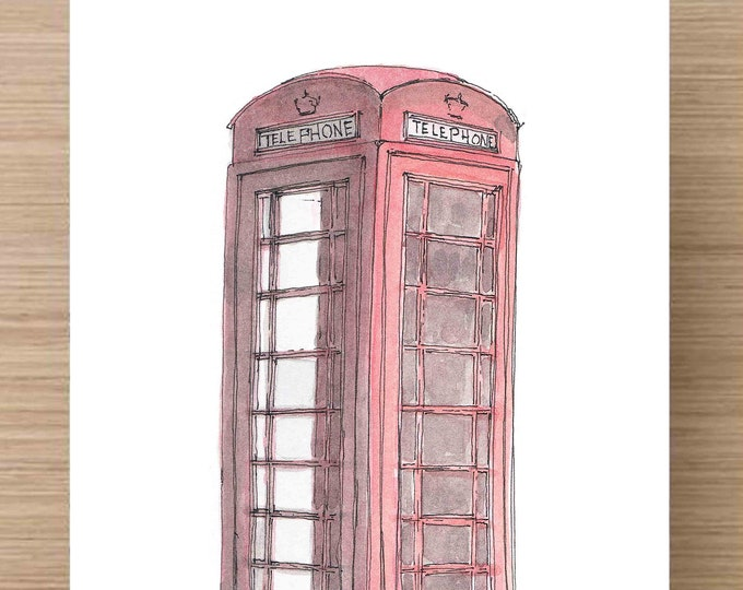 Featured listing image: Watercolor Painting of British Red Phone Box - Telephone, Phone Booth, Art, Ink Drawing, Sketch, Watercolor, Art, Pen and Ink, 5x7, 8x10