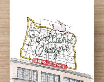 PORTLAND, OREGON - Ink and Watercolor, Art Prints, Drawing, White Stag Sign, Skyline, Hawthorne Bridge, Saturday Market, Voodoo Donuts