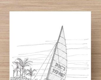 Ink Drawing of catamaran sailboat on beach in Naples, Florida - Boat, Palm Tree, Sailing, Sketch, 5x7 Print, Art, Illustration, Pen and Ink
