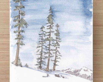 Watercolor Painting of Alpine Trees at Squaw Valley - Lake Tahoe, California, Ink Drawing, Sketch, Watercolor, Art, Pen and Ink, 5x7, 8x10