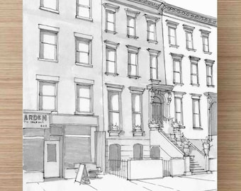 Pen and Ink drawing of Brooklyn Brownstone Apartment Buildings - New York, Ink Drawing, Sketch, Watercolor, Art, Pen and Ink, 5x7, 8x10