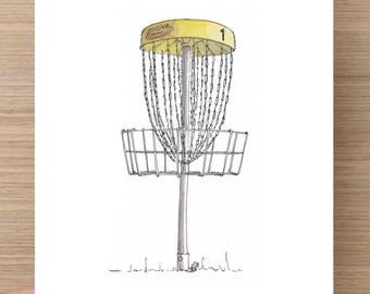 Disc Golf Basket - Frisbee, Golf, Hipster Sport, Chains, Innova, Yellow, Ink Drawing, Sketch, Watercolor, Art, Pen and Ink, 5x7, 8x10