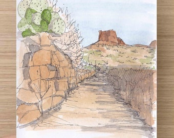 BIG BEND National Park - Pen and Ink, Watercolor, Art Prints, Sketch, Drawing, Painting, Sketchbook