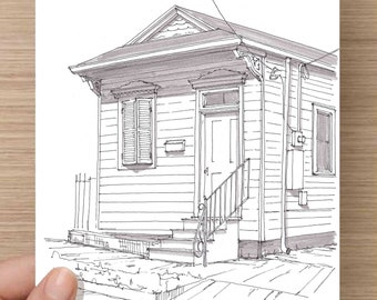 Shotgun House in New Orleans, Louisiana - Ink, Sketch, Drawing, Art, Historic, Architecture, Pen and Ink, Tiny House, 5x7, 8x10, Print
