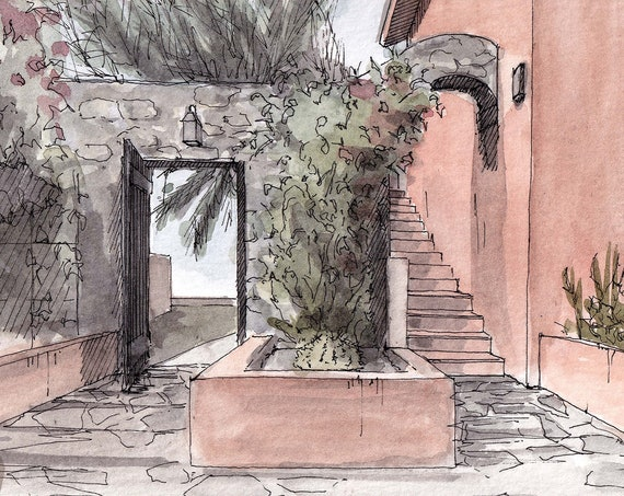 MEXICAN HOUSE ARCHWAY - Garden, Stone, Adobe Architecture, Flowers, Doorway, Drawing, Watercolor Painting, Art, Print, Drawn There