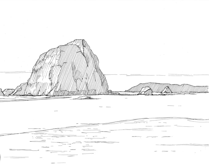 OREGON HAYSTACK ROCK - Cannon Beach, Ecola State Park, Ocean, Pacific Northwest, Pen and Ink, Drawing, Sketch, Art Print, Drawn There
