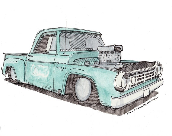 DODGE D100 HOTROD - Classic Car, Vintage Truck, Pickup Truck, Teal, Car Show, Drawing, Watercolor Painting, Sketchbook, Art, Drawn There