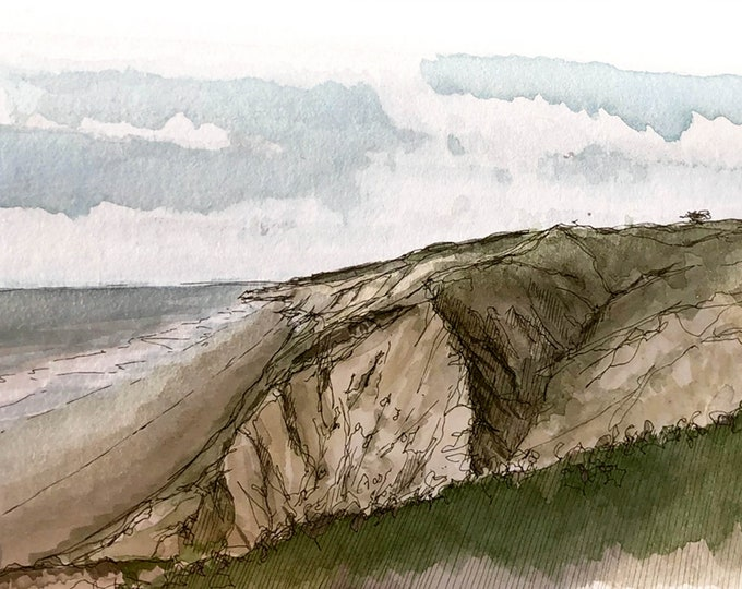 TORREY PINES CLIFFS- San Diego, La Jolla Gliderport, Pacific Ocean, Beach, Drawing, Plein Air Ink and Watercolor Painting, Art, Drawn There