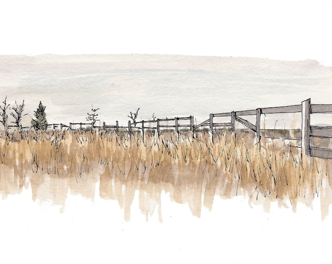 FIELD AND FENCE in Texas - Ink and Watercolor Landscape Painting, Drawing, Art Prints, Nature, Art, Sketchbook, Drawn There