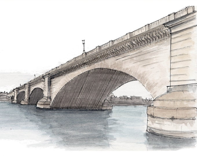 LONDON BRIDGE, Lake Havasu -  Ink and Watercolor, Art Prints, Drawing, Architecture, Painting, Plein Air, Stone, Arizona, Drawn There