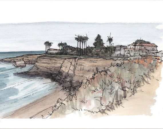 SUNSET CLIFFS - San Diego, Pacific Ocean, California, Pen and Ink, Art, Watercolor, Painting, Drawing, Sketchbook, Drawn There