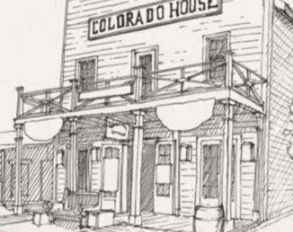OLD TOWN San Diego, California - Old West, Wild West, Architecture, Colorado House, Pen and Ink, Drawing, Sketchbook, Drawn There