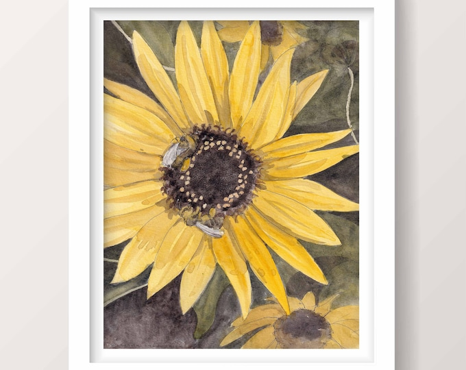 SUNFLOWER AND BEES - Spring, Summer, Nature, Flowers, Ink and Watercolor Painting, Ink Drawing, Art Print, Drawn There