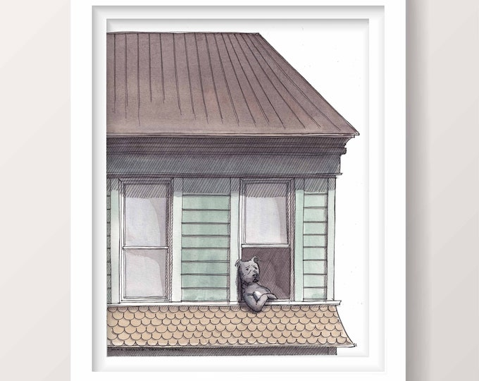 DOG IN WINDOW - Pitbull, Animal Art, House Architecture, Pet Portrait, Ink and Watercolor Drawing Painting, Giclee Print, Drawn There