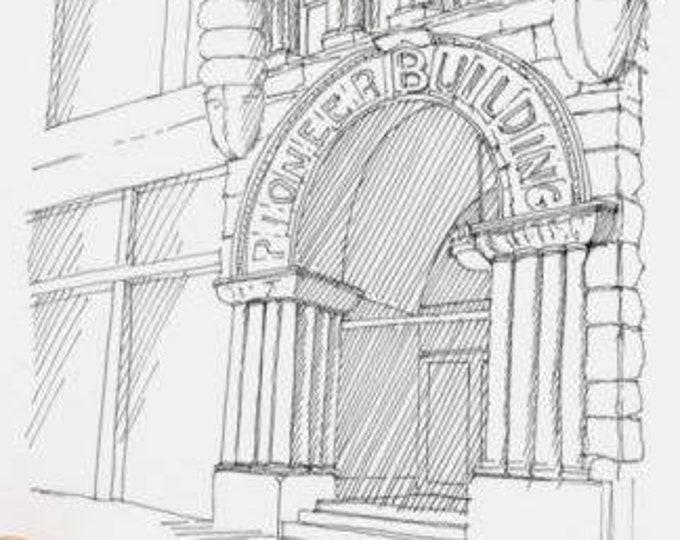 PIONEER SQUARE BUILDING, Seattle, Washington - Drawing, Art, Architecture, Drawing, Pen and Ink, Sketchbook, Drawn There