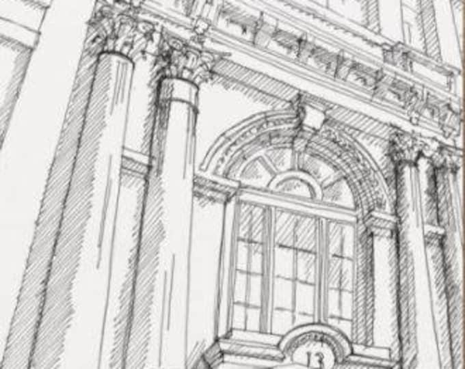 ONE SOUTH STREET - Baltimore, Facade, Architecture, Columns, Corinthian, Arch, Drawing, Pen and Ink, Art Print, Sketchbook, Drawn There