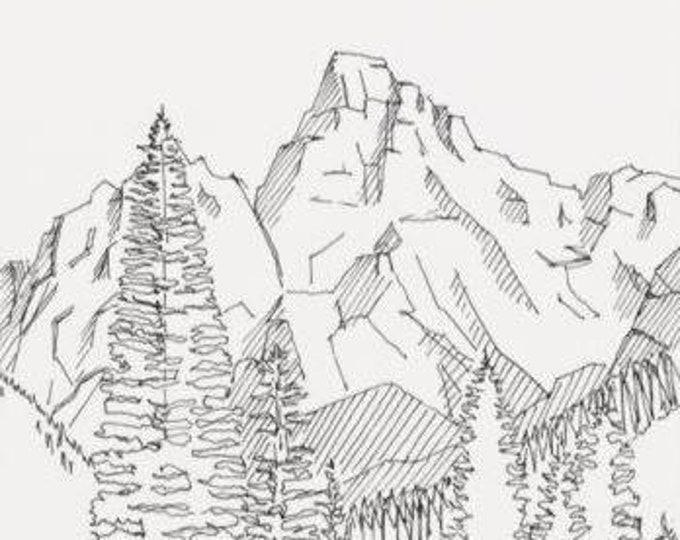 GRAND TETON National Park - Mountains, Wyoming, Nature, Hiking, Pen and Ink, Drawing, Art, Print, Line Drawing, Drawn There