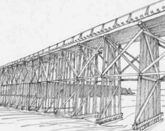 TRAIN TRESTLE BRIDGE, Fort Bragg, California - Beach, Railroad, Engineering, Pen and Ink, Sketch, Drawing, Sketchbook, Art, Drawn There