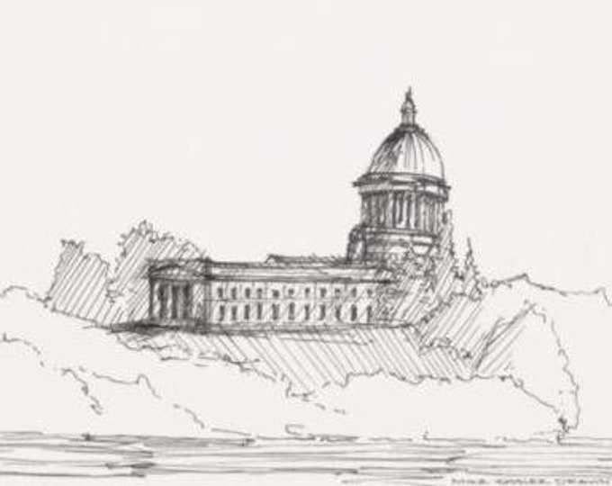 WASHINGTON STATE CAPITOL - Olympia, Classical Architecture, Dome Cupola, Drawing, Ink, Sketchbook, Art, Drawn There