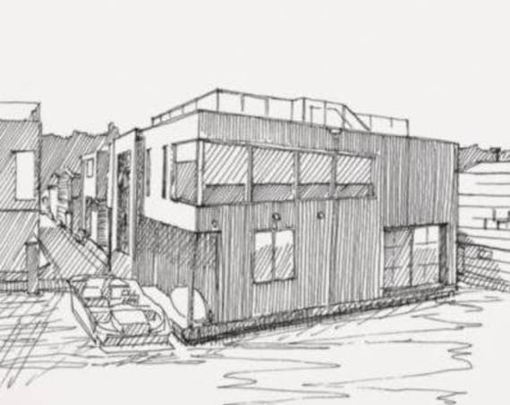 MODERN HOUSE BOATS on Lake Union in Seattle, Washington - Houseboat, Drawing, Architecture, Float, Pen and Ink, Sketchbook, Art, Drawn There