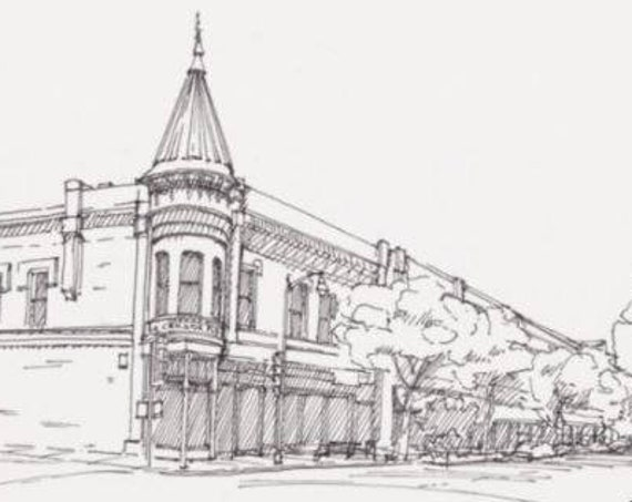 LOS GATOS, CALIFORNIA - Downtown, Main Street, Architecture, Small Town, Pen and Ink, Drawing, Sketchbook, Art, Drawn There