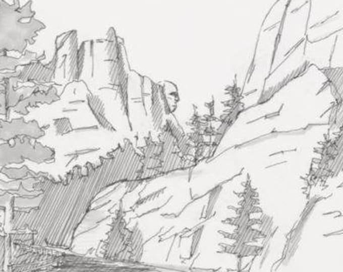 MOUNT RUSHMORE National Monument - South Dakota, Black Hills, George Washington, Mountains, Ink Drawing, Sketchbook, Art, Drawn There