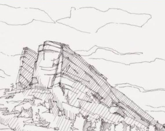 RED ROCKS AMPHITHEATER - Denver, Colorado, Concert Venue, Outdoor Concert, Drawing, Pen and Ink, Line Drawing, Sketchbook, Drawn There