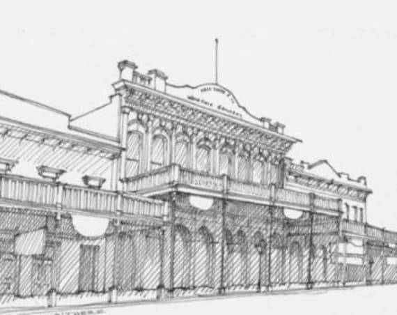 OLD SACRAMENTO THEATER - California History, Old Wild West, Architecture, Pen and Ink, Drawing, Sketchbook, Art, Drawn There