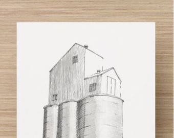 Ink Sketch of Grain Silo - Drawing, Art, Farm, Architecture, Pen and Ink, 5x7, 8x10, Print