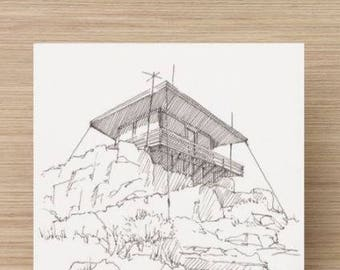 Ink Sketch of Fire Watch Tower at Lava Beds National Park in Northern California - Drawing, Art, Architecture, Pen and Ink, 5x7, 8x10, Print