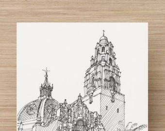 Ink Drawing of Museum of Man at Balboa Park in San Diego, California - Sketch, Art, Architecture, Pen and Ink, 5x7, 8x10, Print,