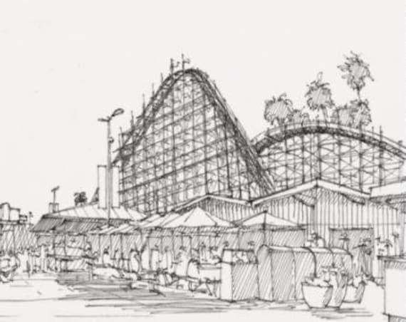 SANTA CRUZ BOARDWALK - Rollercoaster, Amusement Park, Rides, Beach, Ocean, California, Pen and Ink, Drawing, Sketchbook, Art, Drawn There