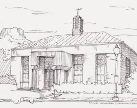 GOLDEN COLORADO Post Office - Art Deco, Mountain, Butte, Architecture, Drawing, Pen and Ink, Sketchbook, Art, Drawn There