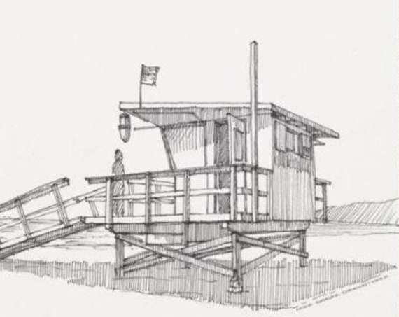 LIFEGUARD VENICE BEACH - California, Ocean, Beach Patrol, Surfing, Architecture, Pen and Ink, Drawing, Sketchbook, Art, Drawn There