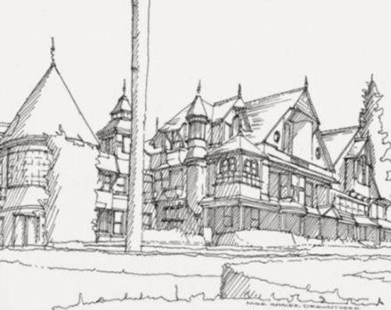 WINCHESTER MYSTERY HOUSE in San Jose, California - Drawing, Pen and Ink, Architecture, Sketchbook, Art, Drawn There