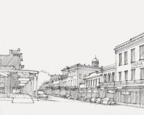 OLD SACRAMENTO STREET - California, Historic Architecture, Wild West, Drawing, Pen and Ink, Sketchbook, Art, Drawn There